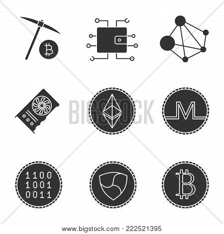 Cryptocurrency glyph icons set. Silhouette symbols. Digital wallet, binary code, ethereum, bitcoin, monero, ripple coins, mining, graphic card, global network. Vector isolated illustration