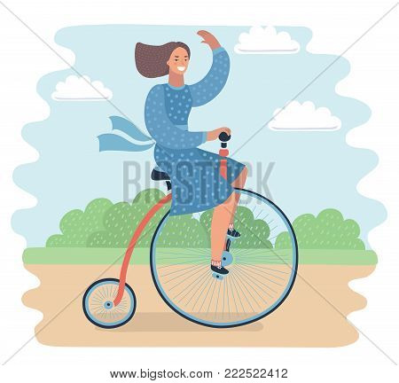 Vector cartoon illustration of lady on a vintage retro bicycle. Funny smiling female character in park. Penny farthing bicycle