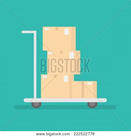 delivery concept.hand truck with boxes. flat design