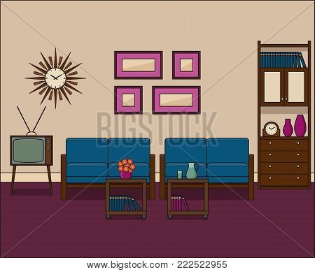 Retro living room in flat design. Room interior in line art. Linear illustration. Vector graphics. Thin line vintage home space with sofa, TV and cupboard. House equipment 1960s.