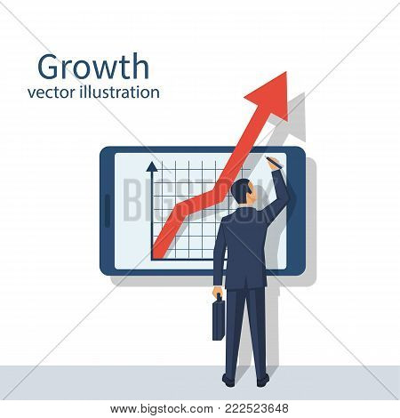 Business growth concept. Businessman in suit standing about smartphone, chart of financial growth. Vector illustration flat design. Isolated on white background. Profit Stock Market. Aspirations.