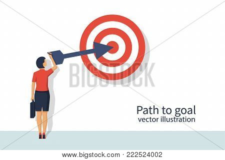 Path to goal. Business people. Vector illustration flat design. Isolated on white background. Achieving goal. Strategy to aim. Businesswoman in suit draws on wall target and an arrow.