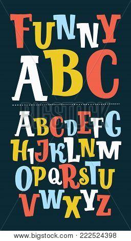 Vector cartoon funny colorful set of hand drawn trendy font. Custom handwritten alphabet. Original Letters. Vintage retro hand drawn typeface on dark background.