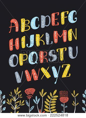 Vector cartoon Boho colorful slanted alphabet. Vector ethnic letters and arrows. Cute and funny ABC uppercase letters on dartk background, decorated with flowers for your design.