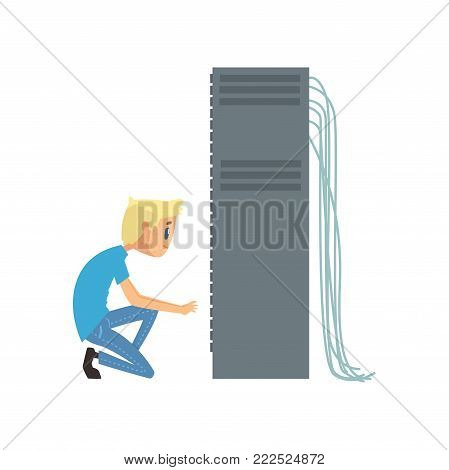 System administrator or network engineer working in data center, network engineer involved in maintenance of system modules cartoon vector illustration isolated on a white background