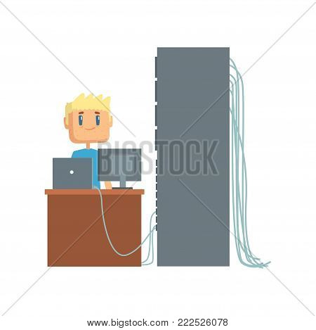 Network engineer administrator working in data center using computer connected to server rack, server maintenance support cartoon vector illustration isolated on a white background