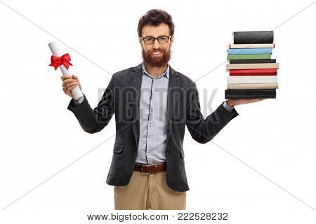 Professor holding a diploma and a stack of books isolated on white background