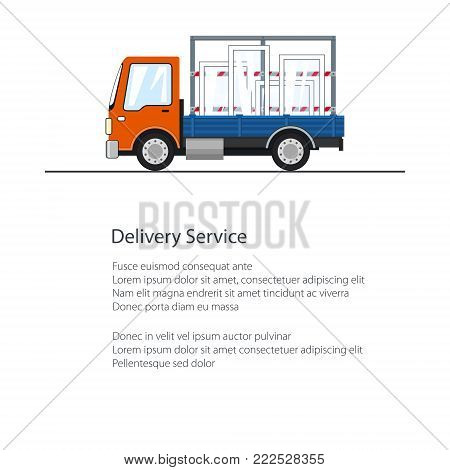 Lorry with Windows Isolated on the Road, Poster with Small Truck , Cargo Delivery Services, Logistics, Shipping and Freight of Goods, Flyer Brochure Design, Vector Illustration