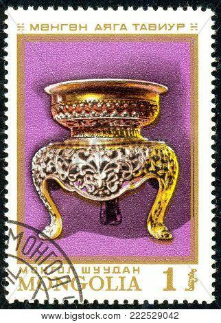 Ukraine - circa 2018: A postage stamp printed in Mongolia show Silver bowl. Circa 1974.