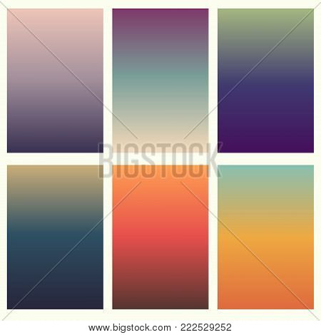 Colorful soft vector backgrounds gradient set. Abstract gradient collection design template