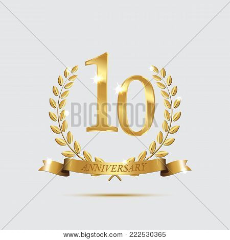 Golden laurel wreaths with ribbons and tenth anniversary year symbol on light background. 10 anniversary golden symbol. Vector anniversary design element