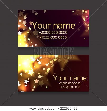 Set of business cards with sparks and stars  on a dark background. Festive business cards with space for text  for your business
