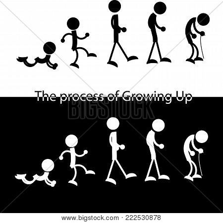 the man from young to old schematic figures black and white poster
