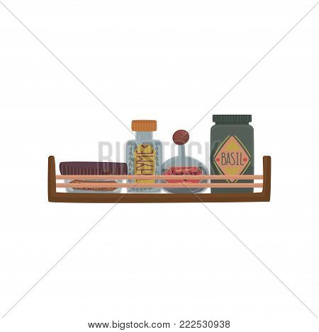 Jars with herbs and spices on wooden shelf cartoon vector Illustration on a white background