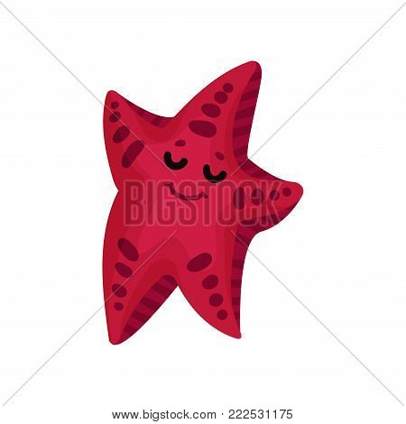 Cute funny cartoon starfish character in burgundy color, invertebrate sea animal cartoon vector Illustration on a white background
