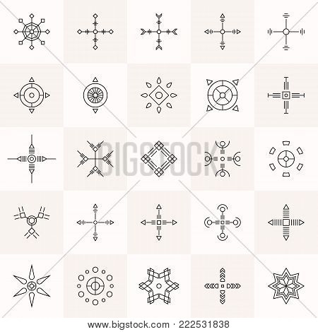 Abstract geometry symbols set. Religion mystic signs. Sacred geometry. Linear alchemy, occult, philosophical symmetric signs. For music album cover, poster, flyer, logo design. Vector illustration.