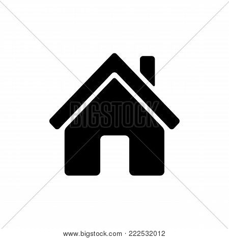 Home icon. Main page button. Navigation sign. Black silhouette symbol isolated on white background. Simple vector icon for web site design or button to mobile app.