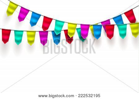 Bunting realistic vector 3d celebration festive decoration. Birthday party colorful mesh flag hanging garland white background. Holiday anniversary festival pennant illustration Invitation card design