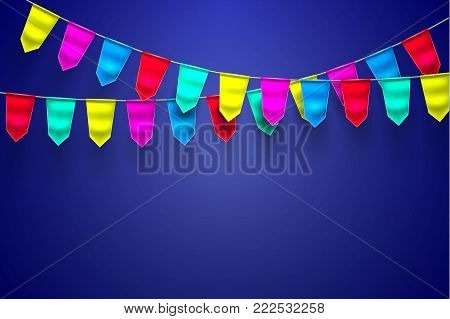 Bunting realistic vector 3d celebration festive decoration. Birthday party colorful mesh flag hanging garland blue background. Holiday anniversary festival pennant illustration. Invitation card design