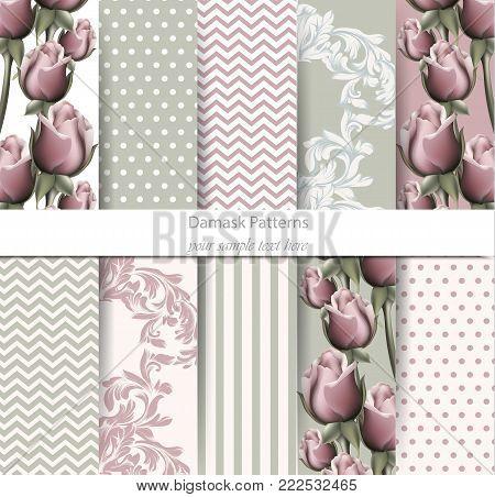 Vintage patterns set Vector. Rose floral desing and Baroque ornament. Vintage background. Pastel color fabric texture