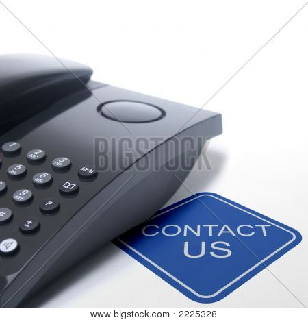 Contact Us Sign With Black Telephone