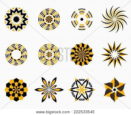 Abstract symmetric geometric center shapes. Yellow and black colors. Vector symbols for your design. Design elements. Vector illustration.