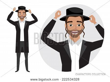 The jew guy is happy and smiling. Cartoon style man. Emotion of joy and glee on the man face. The man portrait.