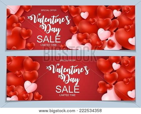 Valentines Day Sale, Discont Card. Vector Illustration. EPS10