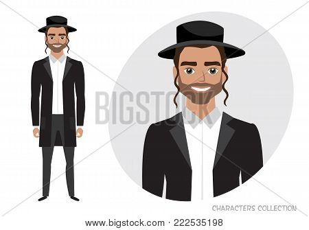 jew vector character isolated on white background.