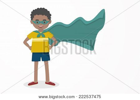 Cute kid, happy boy wearing a hero mask and cloak, illustration vector.