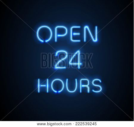 Neon sign Open 24 7 light vector background. Realistic glowing shining design element for 24 Hours Club, Bar, Cafe