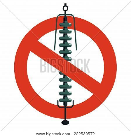 Prohibition of ceramic insulation component, electrical wiring. Strict ban on construction of electric pylons. Stop electricity caution. Vector high voltage pylon warning, white background, isolated.