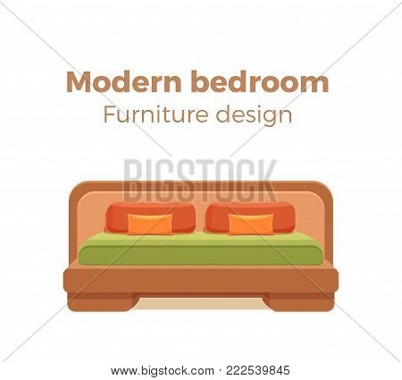 Single colorful bed with pillows and blanket. Vector icon modern bedroom design element. Cartoon style furniture for hotel, homes, shops, advertisement, banners, prospects