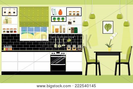 Illustration of modern kitchen and dining room interior design in green color. Flat style vector.