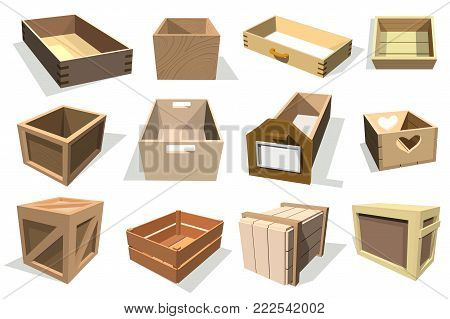 Box packages vector wooden empty drawers and packed boxes or packaging parcels with wood containers for delivery set illustration isolated on white background.