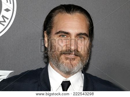 Joaquin Phoenix at the Art Of Elysium's 11th Annual Heaven Celebration held at the Barker Hangar in Santa Monica, USA on January 6, 2018.