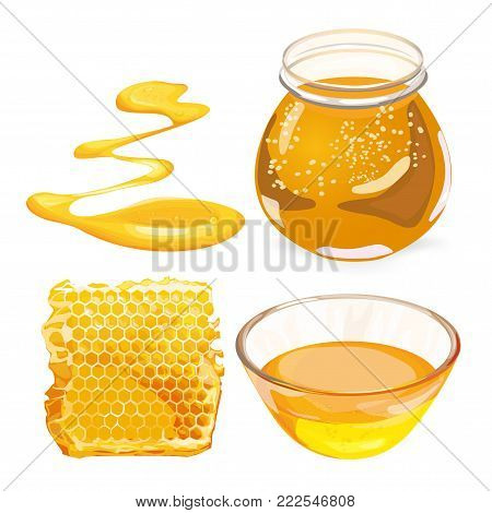 Natural honey realistic poster with honeycombs and a glass jar with honey vector illustration.