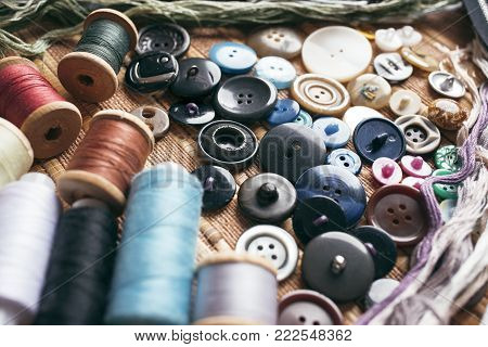 Sewing accessories - threads, buttons, zippers. Sewing Studio.