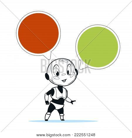 Chatbot Robot Chat Bot Support Technology Chatter Virtual Assistance Concept Vector Illustration