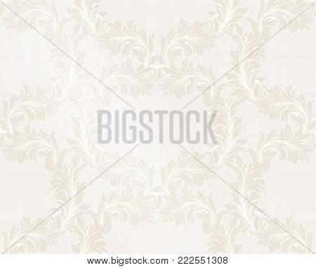 Damask golden pattern Vector illustration handmade ornament decor. Baroque soft background texture