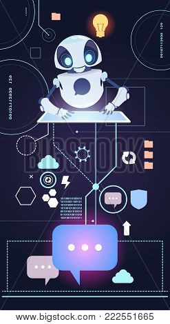 Chatbot Robot Technology, Chatter Bot Answer Questions Using Digital Tablet Virtual Assistance Concept Flat Vector Illustration