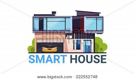 Smart House System Automation and Control Technology Modern Home Icon Isolated Flat Vector Illustration