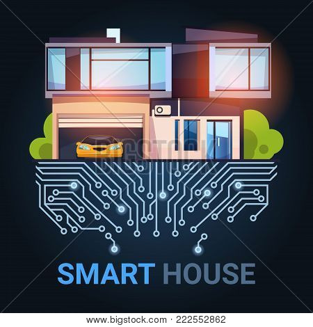 Smart House Control Technology System With Automation Efficiency Concept Flat Vector Illustration
