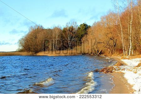 Autumn nature. The autumn woods. The autumn woods. Golden autumn. Lake in autumn forest. Autumn landscape. Autumn forest in Sunny day. The lake in Russia. Waves on the water. The lake in the spring. Nature in the spring