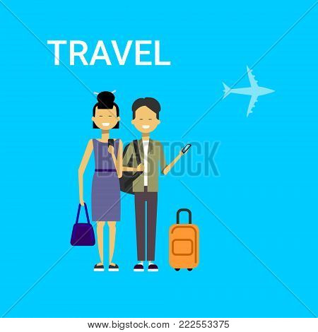 Couple Of Tourists With Bags Travel On Air Happy Smiling Travelers Man And Woman Over Blue Background With Airplane Flat Vector Illustration