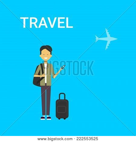 Man Traveller With Bag Holding Smart Phone Gadget Young Chinese Guy Travel On Air Blue Background With Airplane Flat Vector Illustration