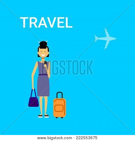 Woman Traveller With Bag Young Asian Female Travel On Air Blue Background With Airplane Flat Vector Illustration