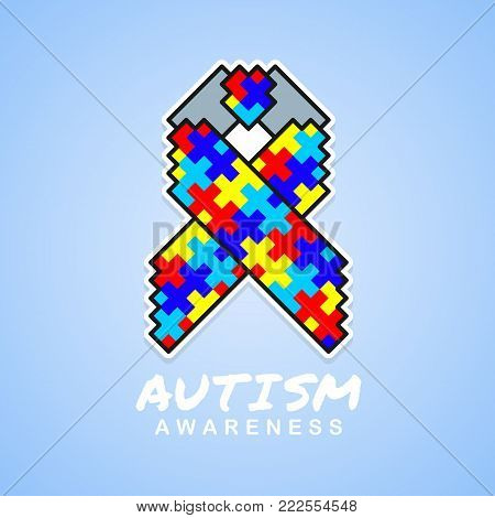 Autism awareness with abstract Square Puzzle ribbon sign on blue background vector design