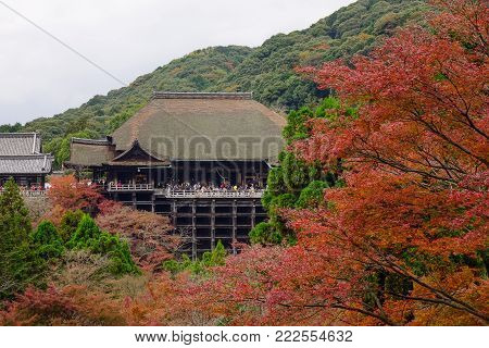 View of Kiyomizu-dera Temple at autumn in Kyoto, Japan. Kiyomizu-dera Temple is one of Kyoto must-see attractions.
