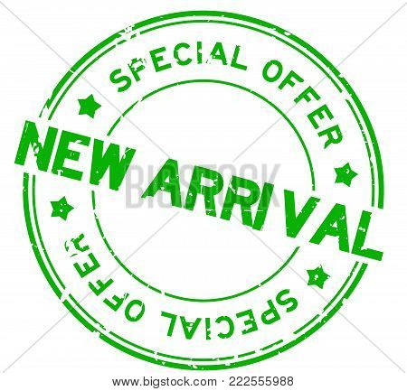 Grunge green new arrival special offer round rubber seal stamp on white background